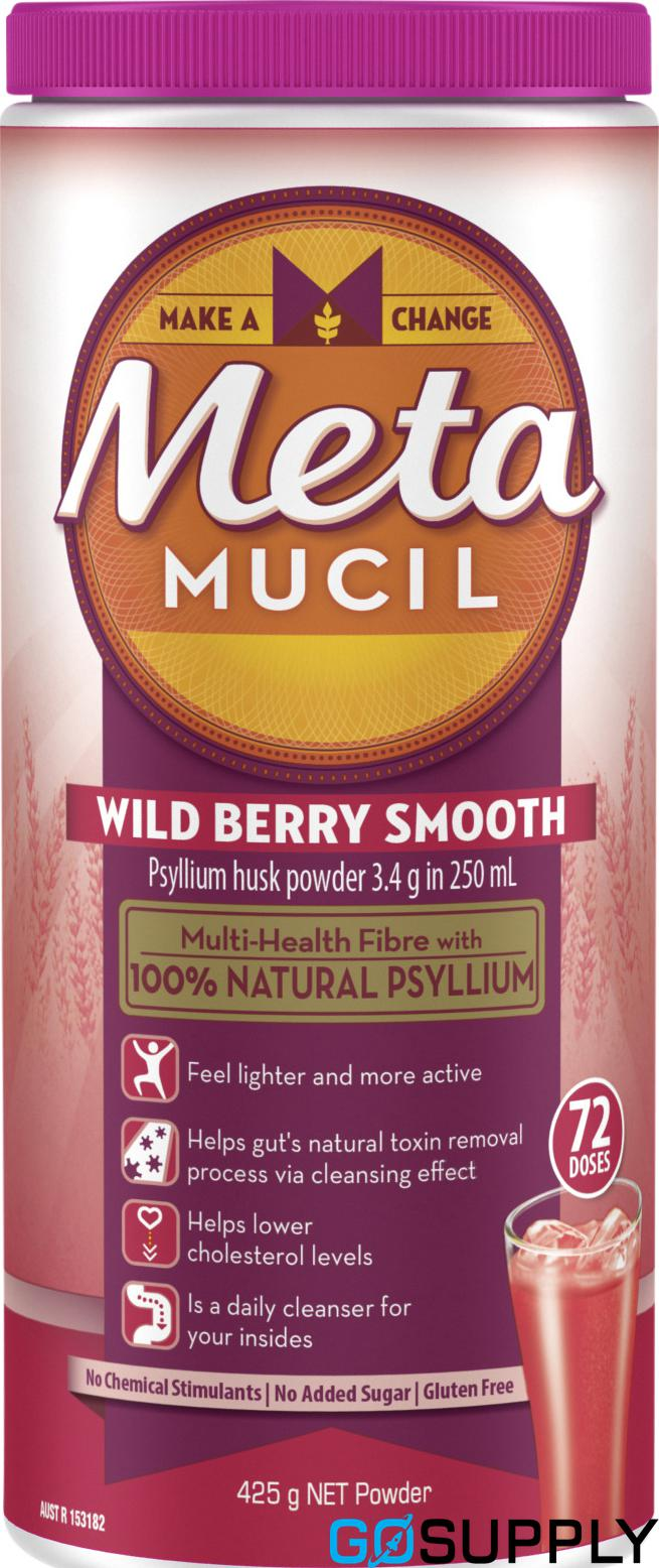 Metamucil Daily Fibre Supplement Wild Berry Smooth 72 Doses