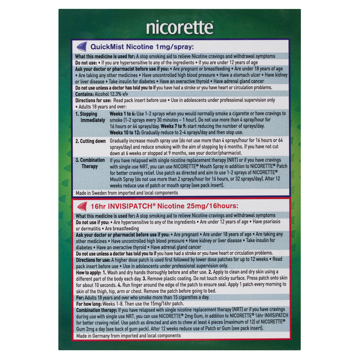 Nicorette Quit Smoking Nicotine Combination Value Kit Quick Mist And Invisipatch