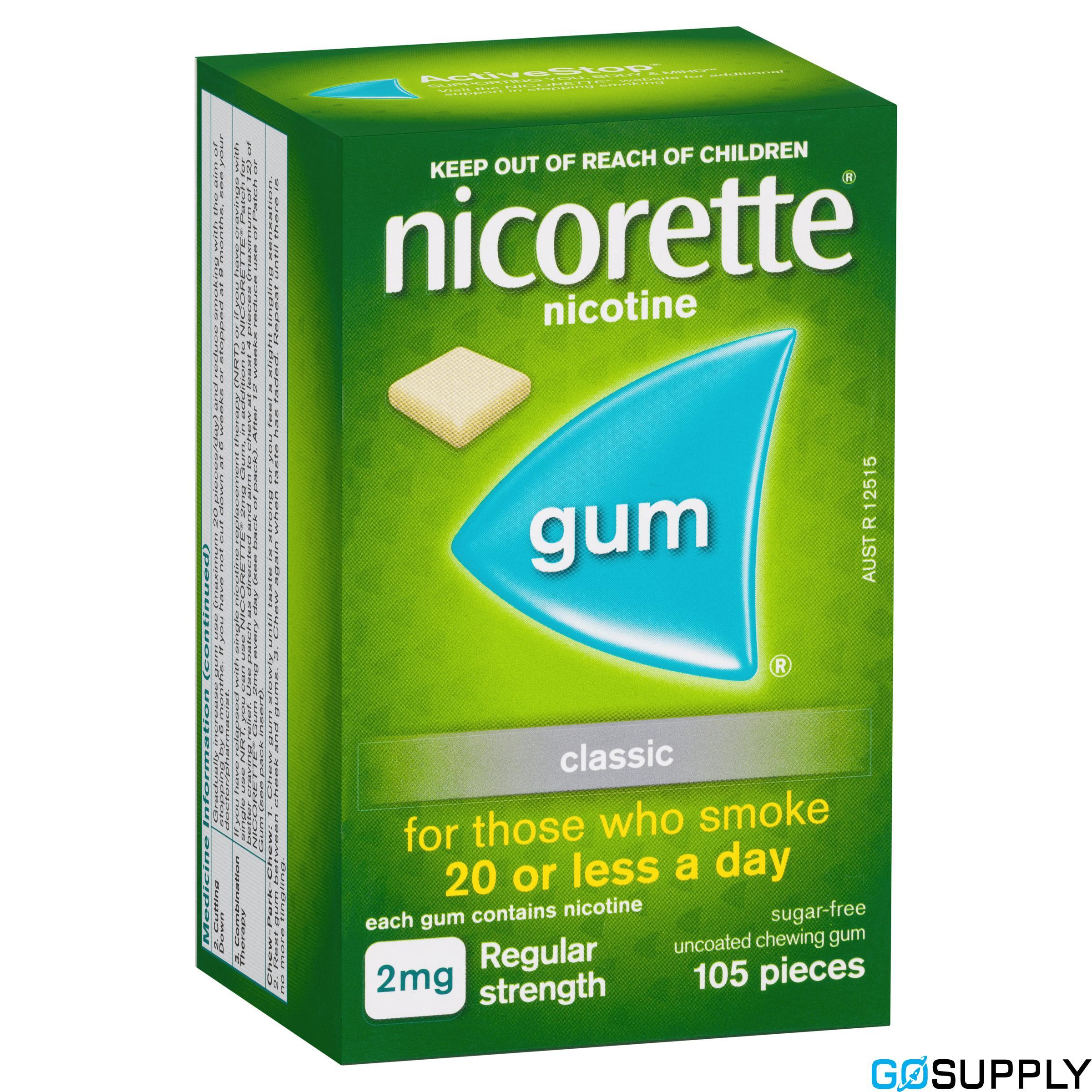 Nicorette Quit Smoking Nicotine Gum Classic 2mg Regular Strength 105 Pack